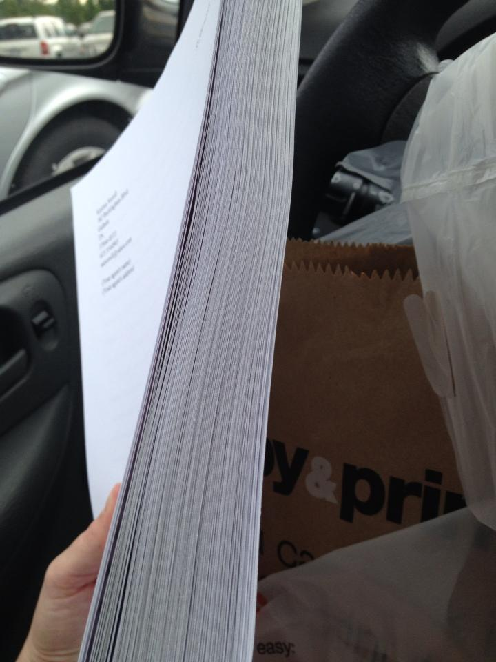 Look how thick this sucker is! 183 pages. Can't believe I wrote all that. Kinda freaking out right now.