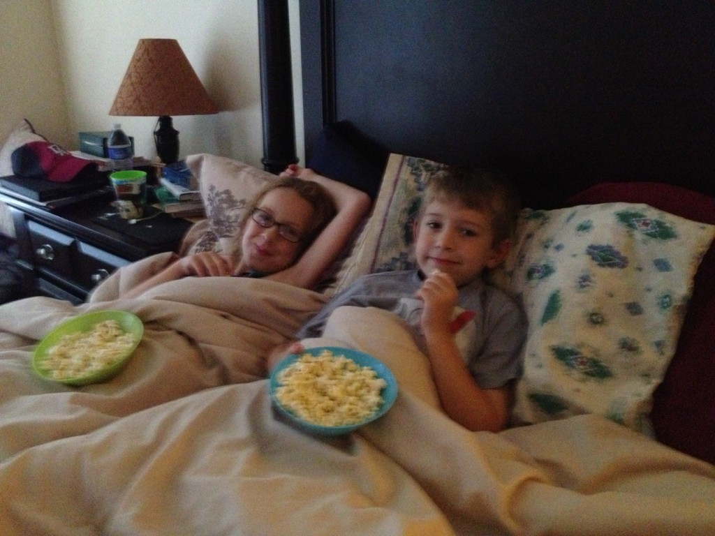 Lazy day movie and popcorn