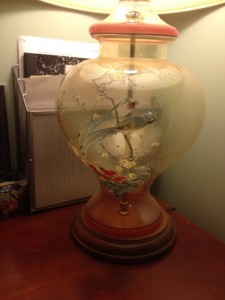 My favorite lamp - Steven brought this with him when we married - I love the two birds!