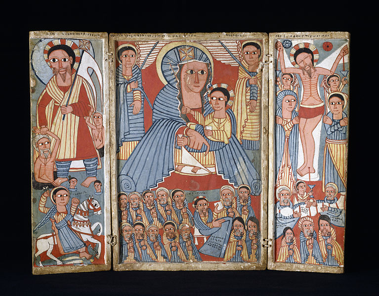 767px-Ethiopian_-_The_Virgin_and_Child_with_Archangels,_Scenes_from_the_Life_of_Christ,_and_Saints_-_Walters_364_-_Open