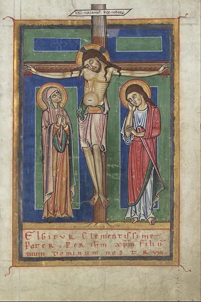 Unknown_German_-_Canon_Page_from_a_Sacramentary,_with_the_Crucifixion_-_Google_Art_Project