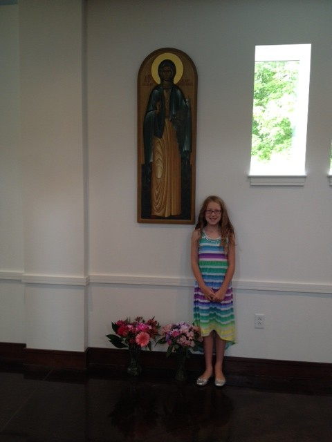 Madeleine was a Holy Myrrhbearer and brought flowers for her saint