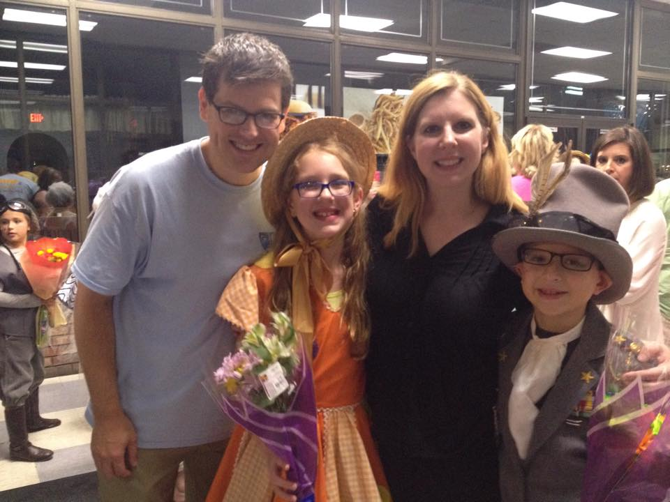 The fam after the kids' performance in Honk, Jr. the musical