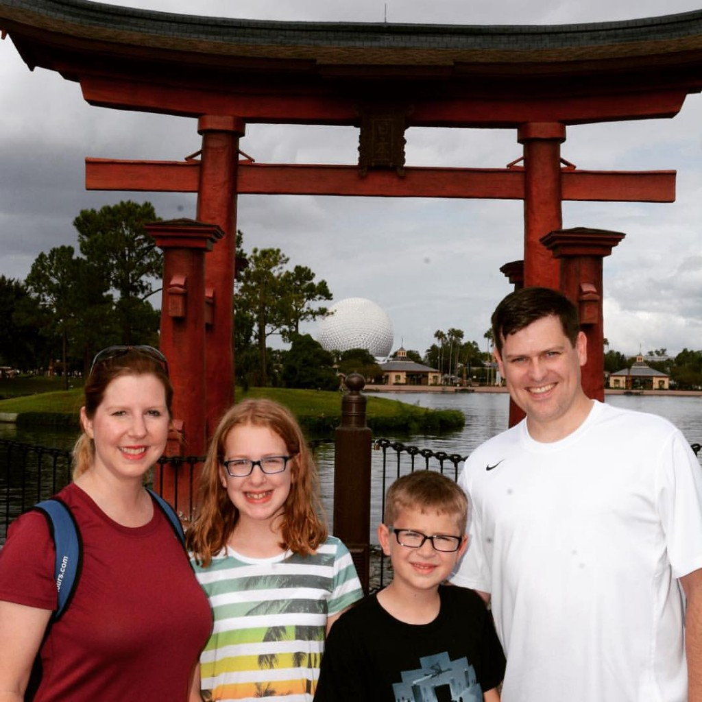 Our first picture in front of the Japanese gate in Epcot was in 2000 on our honeymoon!